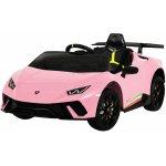 Masinuta electrica cu roti din cauciuc si scaun piele Lamborghini Huracan Pink