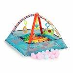 Salteluta de joaca 2 in 1 pentru copii cu jucarii si 18 bile Ecotoys CC9038