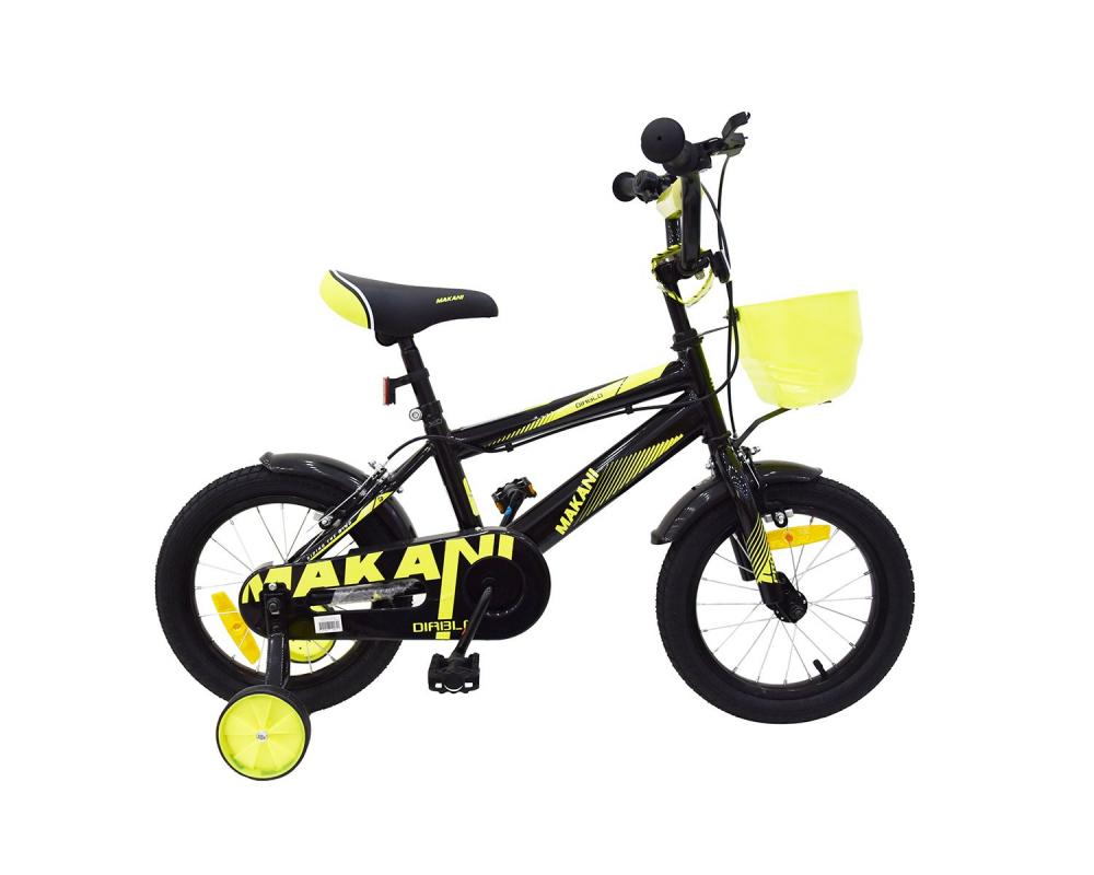 Bicicleta 14 inch KikkaBoo Makani cu roti ajutatoare Diablo Black-Yellow
