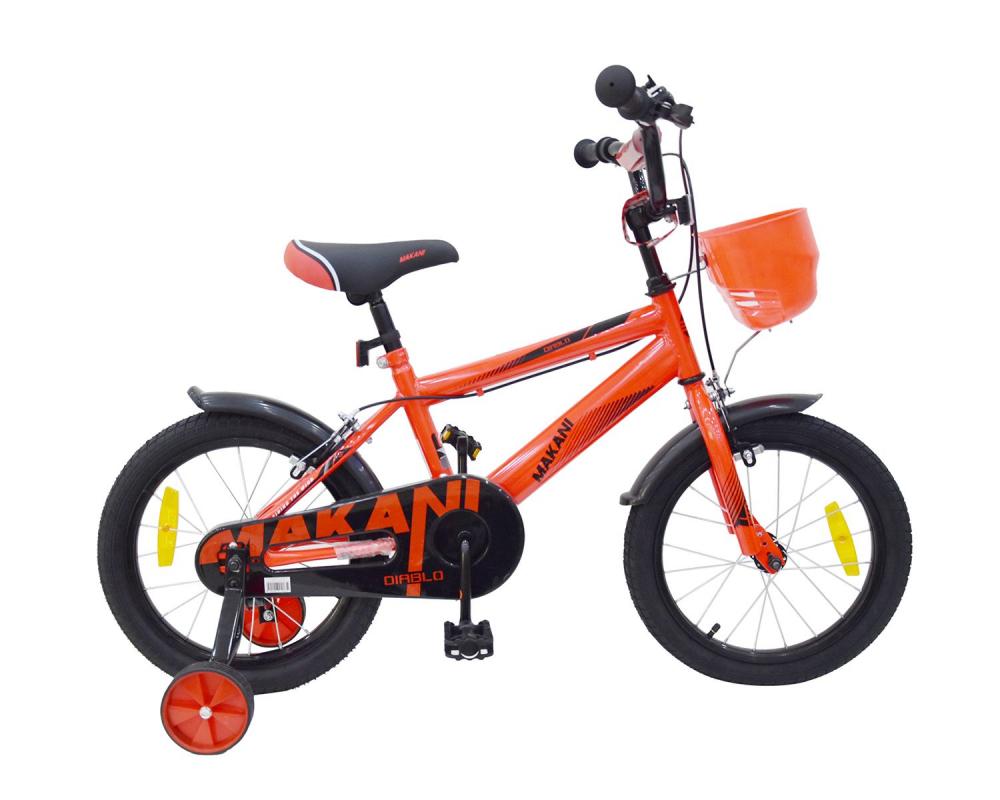 Bicicleta 16 inch KikkaBoo Makani cu roti ajutatoare Diablo Red