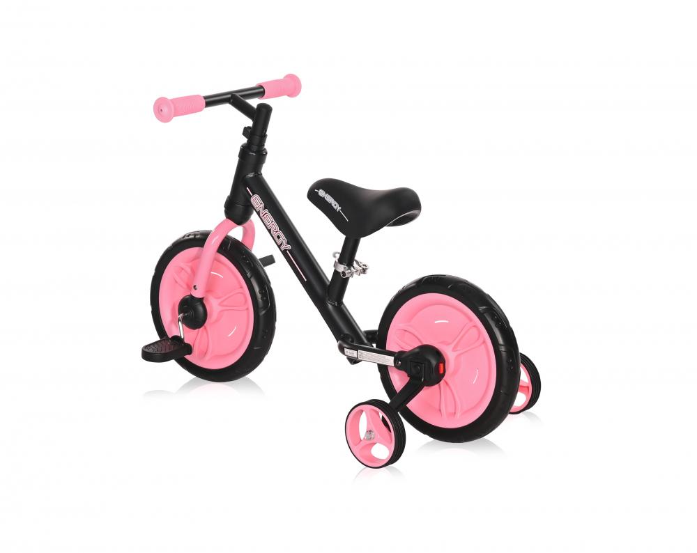 Bicicleta de tranzitie 2 in 1 Energy cu pedale si roti auxiliare Black Pink
