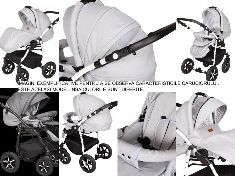 Carucior 3 in 1 Baby Merc Zippy Q - ZQ134C cadru alb - 2