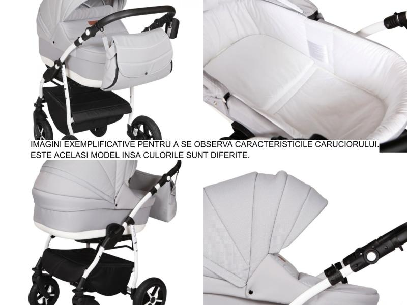 Carucior 3 in 1 Baby Merc Zippy Q - ZQ160C cadru alb