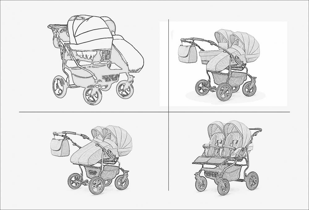 Carucior pentru doi copii Mikado Goldstar 0+1 (T01-12) bejcadru grafit