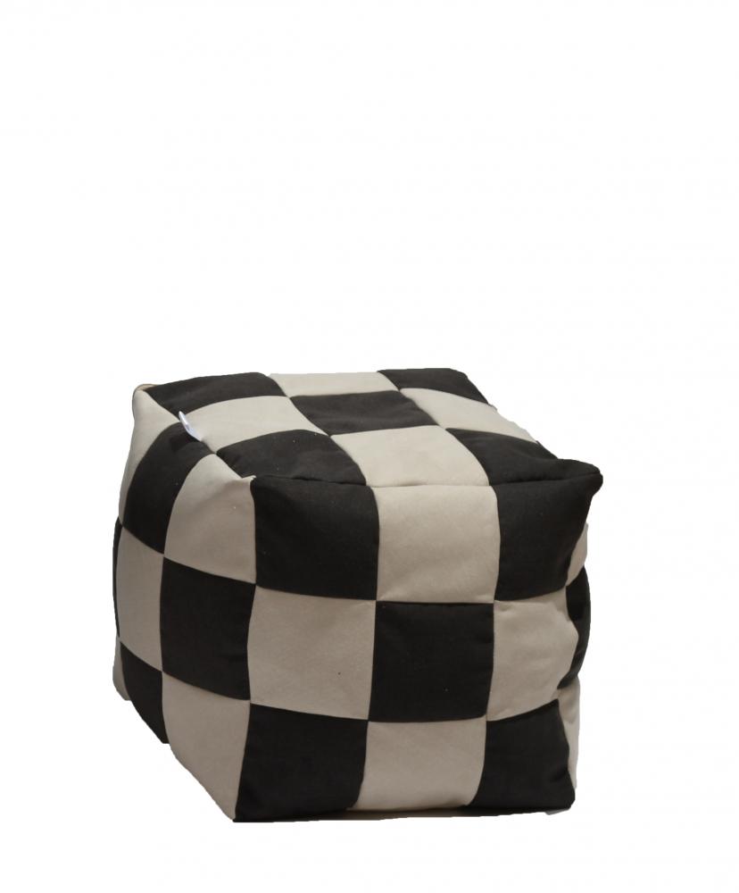Fotoliu Pufrelax taburet cub gama Premium Black Cream cu husa detasabila textila umplut cu perle polistiren