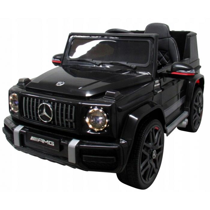 Masinuta electrica cu telecomanda, roti EVA si scaun piele Mercedes G63 negru - 2