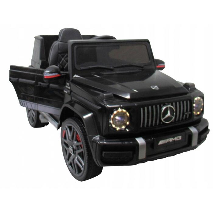 Masinuta electrica cu telecomanda, roti EVA si scaun piele Mercedes G63 negru - 1