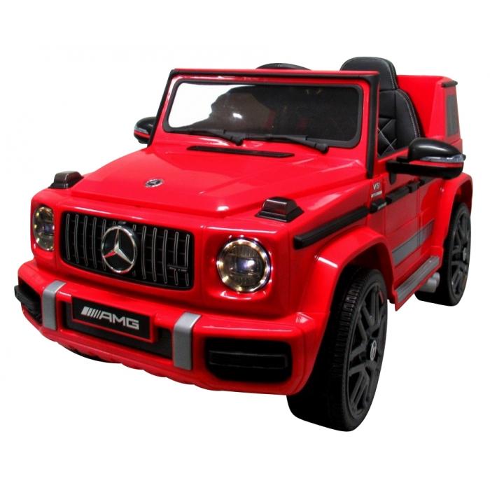 Masinuta electrica cu telecomanda, roti EVA si scaun piele Mercedes G63 rosu - 2