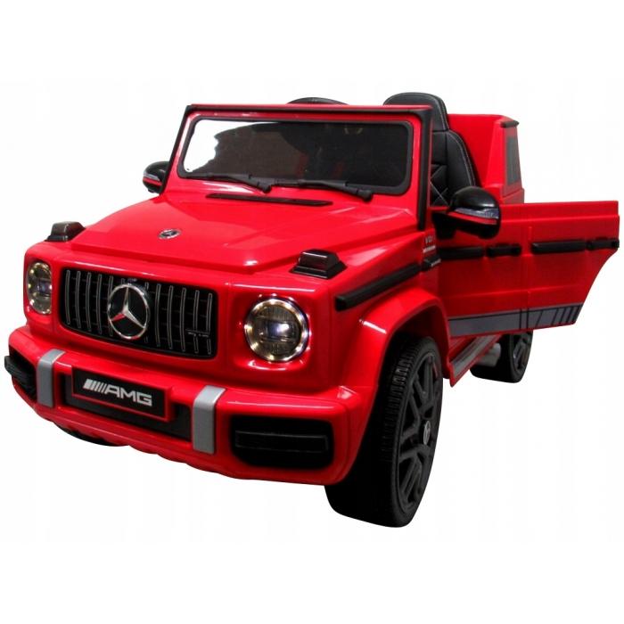 Masinuta electrica cu telecomanda, roti EVA si scaun piele Mercedes G63 rosu - 1