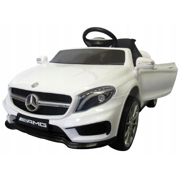 Masinuta electrica cu telecomanda, roti EVA si scaun piele Mercedes GLA45 alb