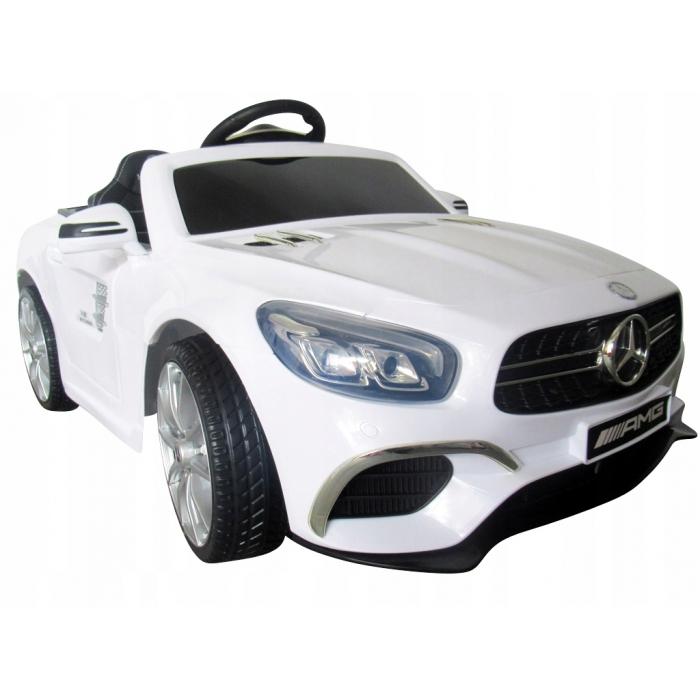 Masinuta electrica cu telecomanda, roti EVA si scaun piele Mercedes SL63 alb - 4