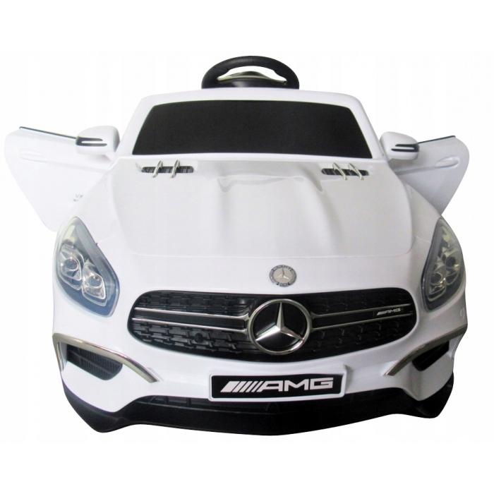 Masinuta electrica cu telecomanda, roti EVA si scaun piele Mercedes SL63 alb