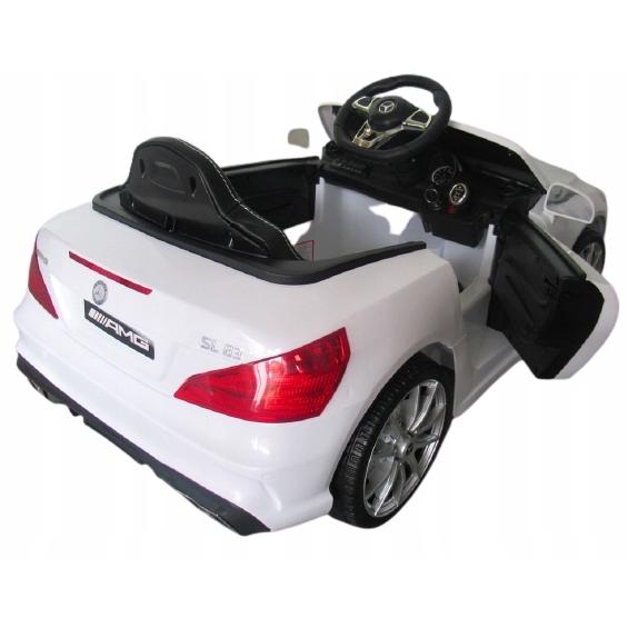 Masinuta electrica cu telecomanda, roti EVA si scaun piele Mercedes SL63 alb - 1