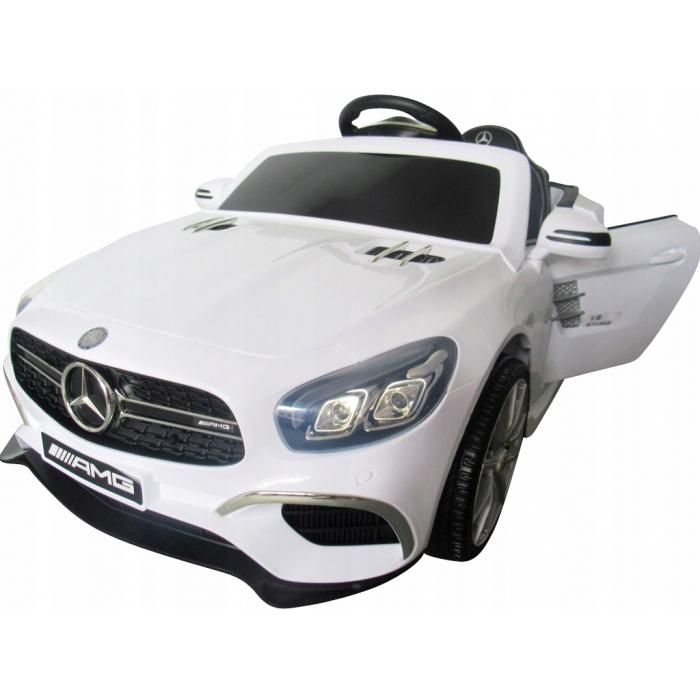 Masinuta electrica cu telecomanda, roti EVA si scaun piele Mercedes SL63 alb - 2
