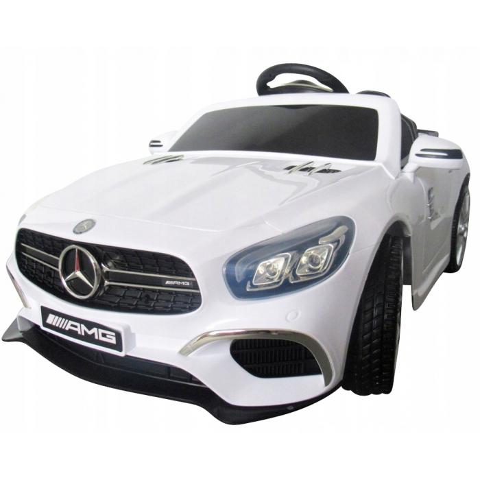 Masinuta electrica cu telecomanda, roti EVA si scaun piele Mercedes SL63 alb - 3