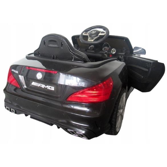 Masinuta electrica cu telecomanda, roti EVA, scaun piele Mercedes SL63 negru