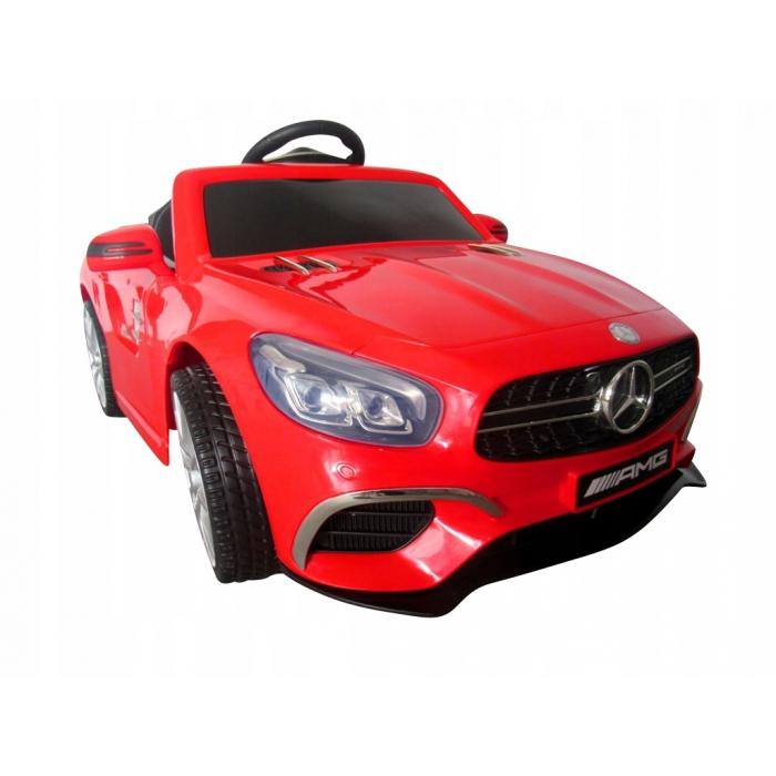 Masinuta electrica cu telecomanda, roti EVA, scaun piele Mercedes SL63 rosu - 3