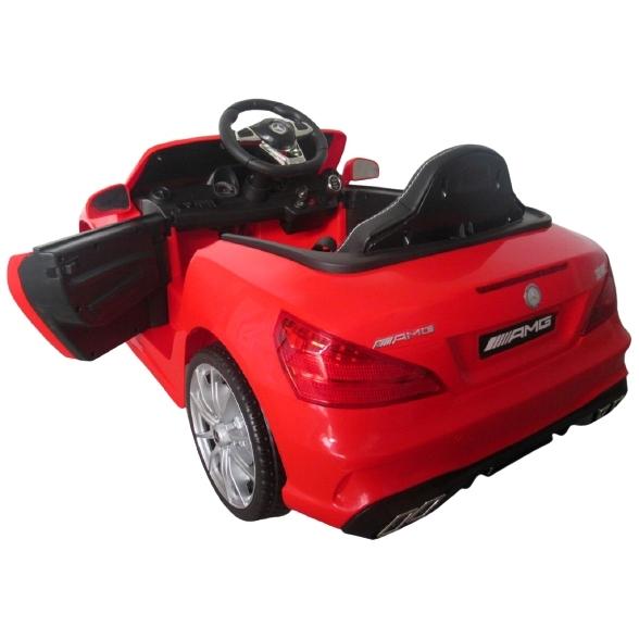 Masinuta electrica cu telecomanda, roti EVA, scaun piele Mercedes SL63 rosu