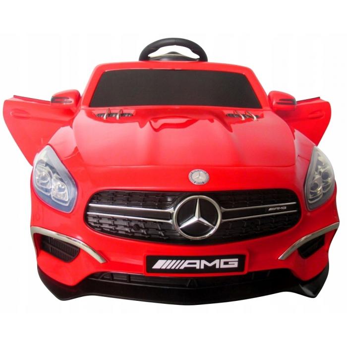 Masinuta electrica cu telecomanda, roti EVA, scaun piele Mercedes SL63 rosu - 1