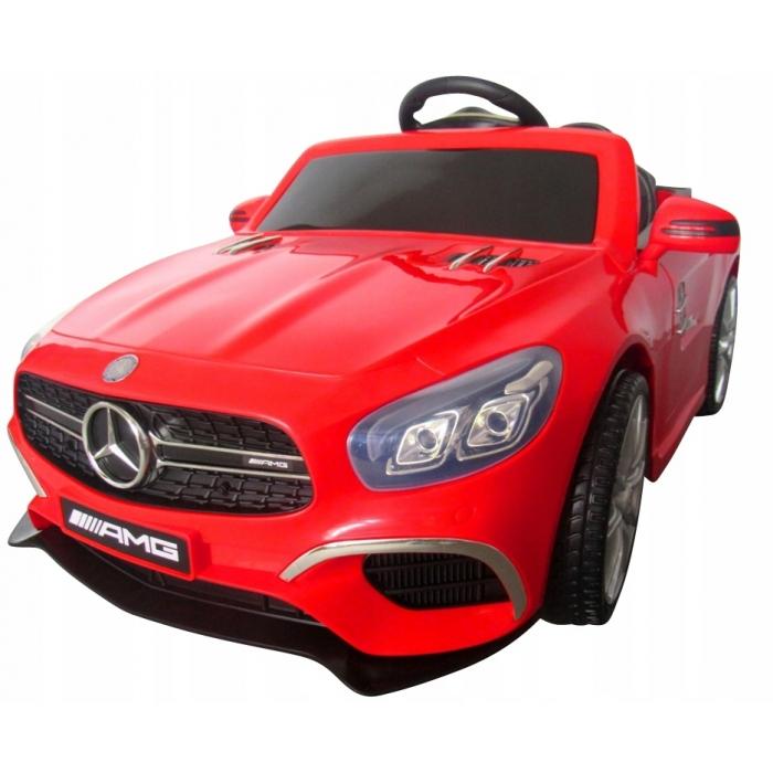 Masinuta electrica cu telecomanda, roti EVA, scaun piele Mercedes SL63 rosu - 2