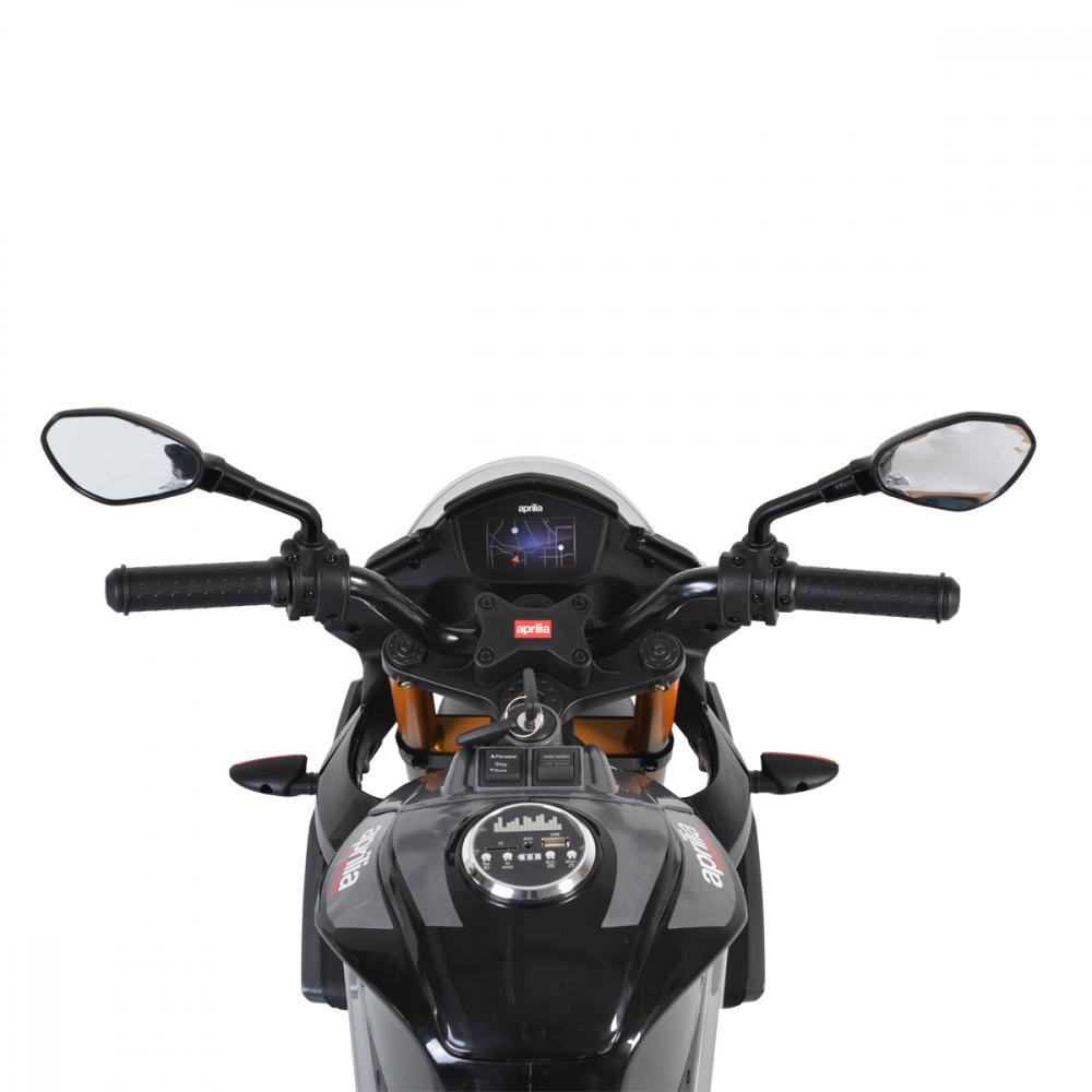 Motocicleta electrica 12V cu roti EVA Aprilia Tuono Black