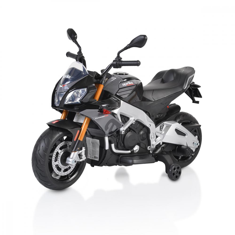 Motocicleta electrica 12V cu roti EVA Aprilia Tuono Black - 2