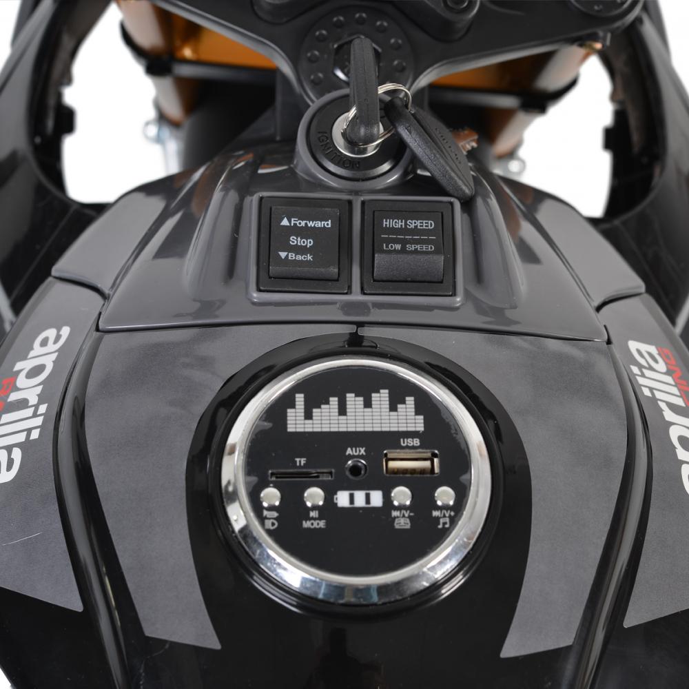 Motocicleta electrica 12V cu roti EVA Aprilia Tuono Black - 3
