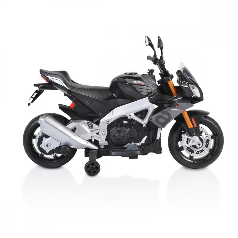 Motocicleta electrica 12V cu roti EVA Aprilia Tuono Black - 4