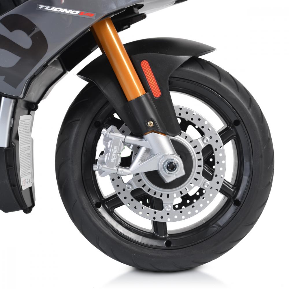 Motocicleta electrica 12V cu roti EVA Aprilia Tuono Black - 9