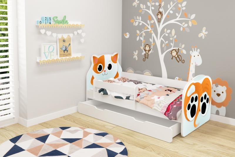 Patut tineret cu sertar Animals Cat 140x70