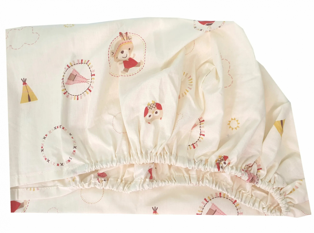 Set cearceafuri Mici indieni patut bebelus 63x127 cm cu elastic din bumbac