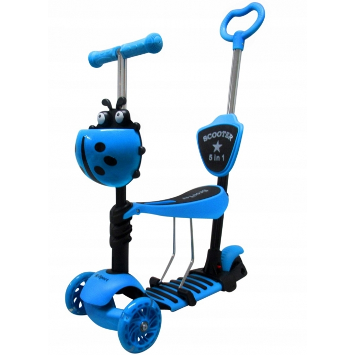 Trotineta 5 in 1 roti cu led platforma antiderapanta JR R-Sport albastru