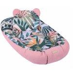 Baby Nest Multifunctional cu doua tipuri de material Velur Jungle Pink