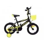 Bicicleta 16 inch KikkaBoo Makani cu roti ajutatoare Diablo Black-Yellow