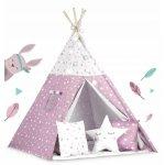 Cort de joaca pentru copii cu lumini, covoras si 3 pernite Ricokids 120x120x165 cm roz cu stelute