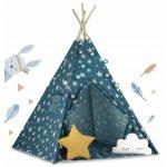 Cort de joaca pentru copii cu lumini si 2 pernite Ricokids 120x120x165 cm bleumarin cu stelute