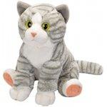 Jucarie Plus Wild Republic 30 cm Pisica vargata gri alb