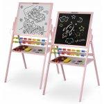 Tabla 2 in 1 cu creta sau marker/magnetica, abac, set de creta colorata si markere, burete, cifre si litere magnetice roz