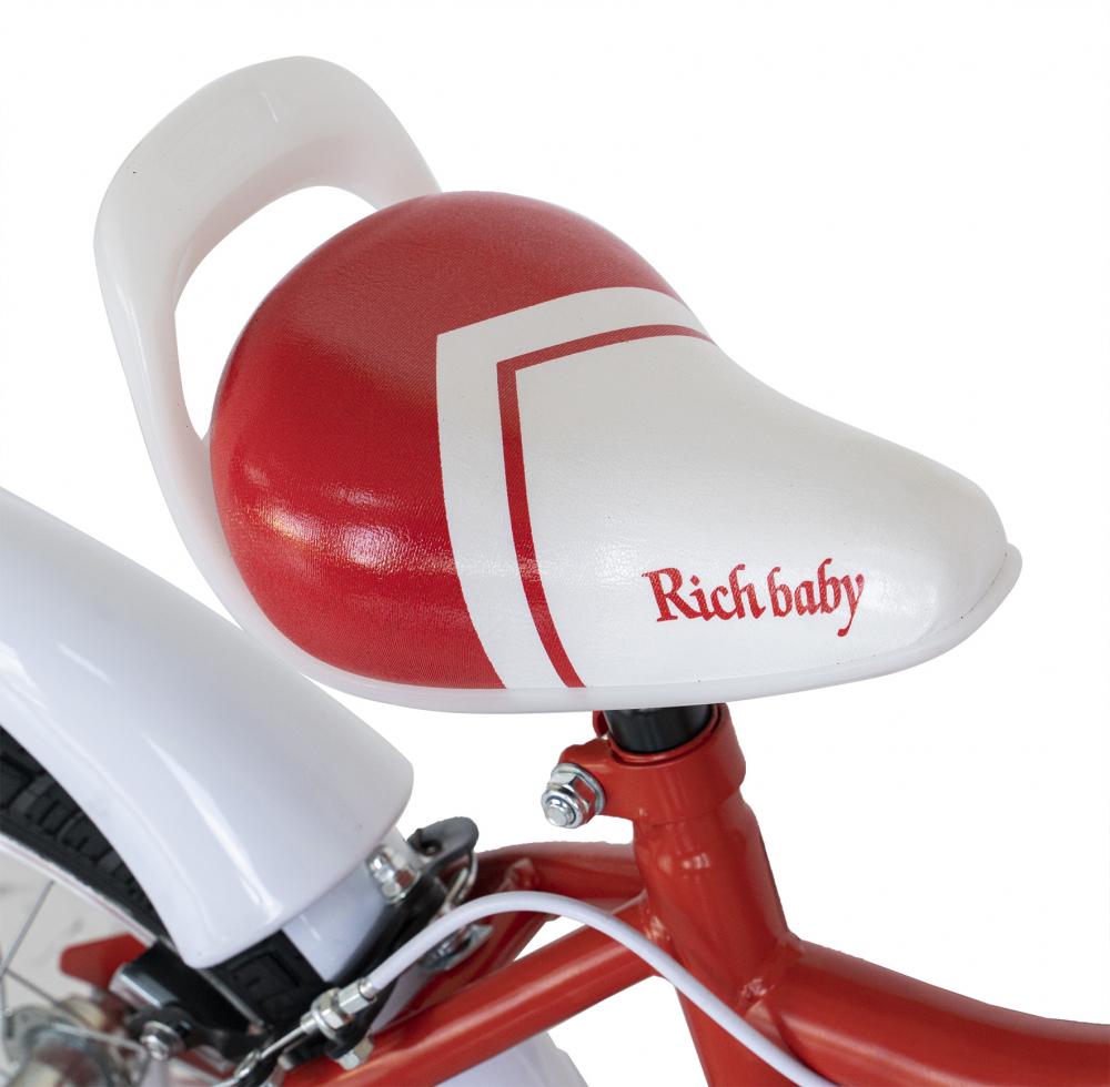 Bicicleta copii 4-6 ani 16 inch C-Brake Rich Baby CSR1604A cadru rosu cu design alb