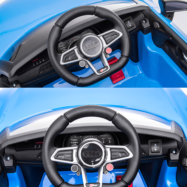Masinuta electrica 12V cu scaun din piele si roti EVA Audi R8 Blue