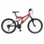 Bicicleta MTB-FS Saiguan Revoshift 18 viteze 24 inch Rich Baby CSR24/49A rosu cu negru