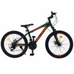 Bicicleta MTB-HT 24 inch Velors CSV24/10A negru cu design verde/portocaliu