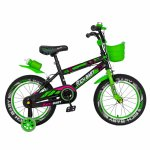Bicicleta baieti 4-6 Ani roti 16 inch Rich Baby CSR16/WTB negru cu verde