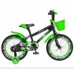 Bicicleta copii 4-6 ani 16 inch C-Brake roti ajutatoare cu Led Rich Baby CSR16/03A negru cu verde