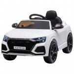 Masinuta electrica cu scaun de piele si roti cauciuc Audi RS Q8  White