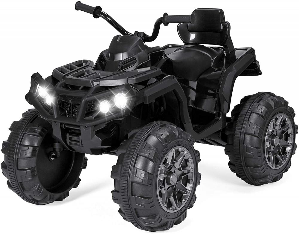 Atv electric 12V cu roti EVA si scaun din piele Nichiduta Super Quad Black