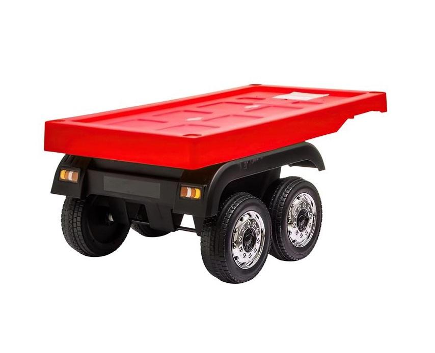 Camion electric 4X4 cu platforma ,scaun din piele si roti EVA Mercedes Actros Trailer Red - 1