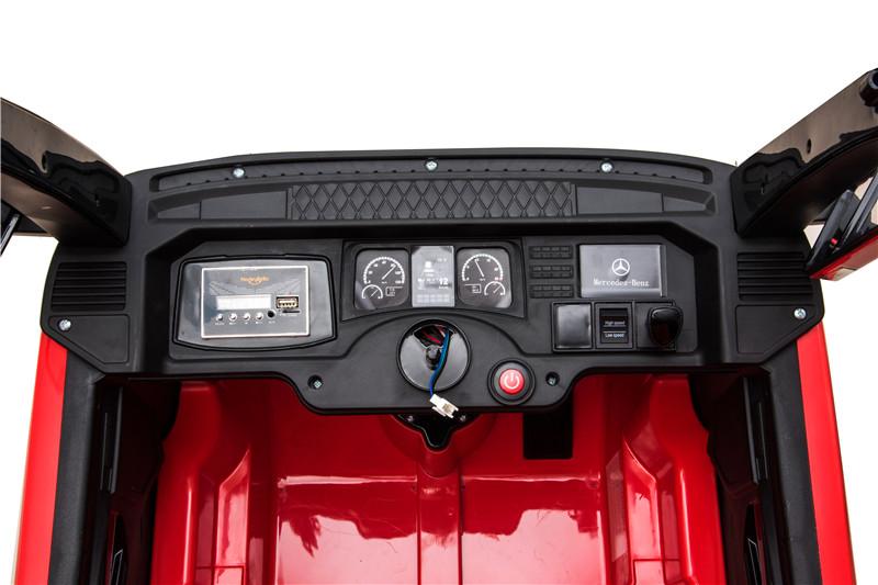 Camion electric 4X4 cu platforma ,scaun din piele si roti EVA Mercedes Actros Trailer Red - 2