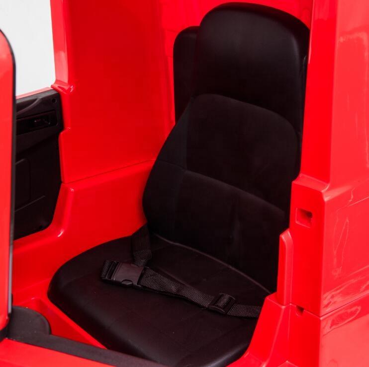 Camion electric 4X4 cu platforma ,scaun din piele si roti EVA Mercedes Actros Trailer Red - 3