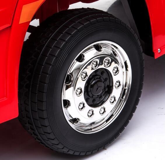 Camion electric 4X4 cu platforma ,scaun din piele si roti EVA Mercedes Actros Trailer Red - 4